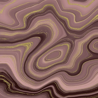 Liquid marble texture. rose gold and golden glitter ink painting abstract pattern.