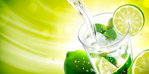 Liquid pouring into mojito with lime and mints on green background