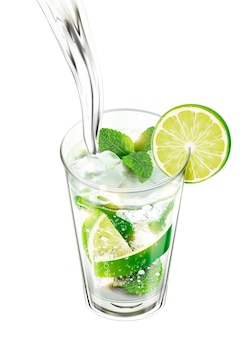 Liquid pouring into mojito with lime and mints on white background