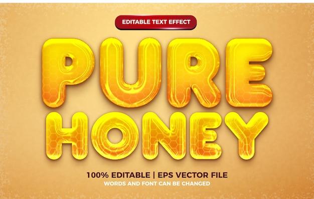 액체 순수 꿀 노란색 3d 편집 가능한 텍스트 효과