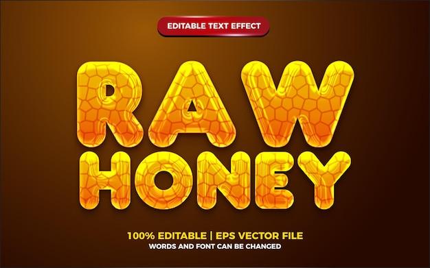 액체 원시 꿀 노란색 3d 편집 가능한 텍스트 효과