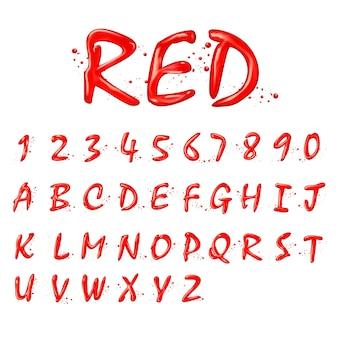 白い背景の上の液体の赤いアルファベットと数字のコレクション