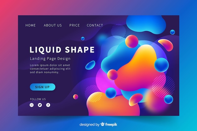 Liquid shape landing page