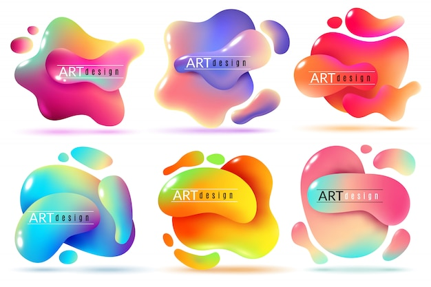 Liquid shapes abstract color flux elements paint forms graphic texture modern creative stickers