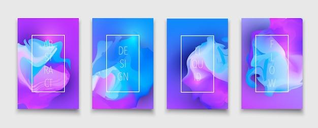 액체 모양 및 유체 네온 그라데이션 브로셔 디자인 서식 파일 벡터 다채로운 유행 전단지 세트 ...