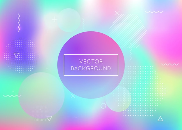 Liquid shapes background with dynamic fluid. holographic bauhaus gradient with memphis elements. graphic template for book, annual, mobile interface, web app. pearlescent liquid shapes background.