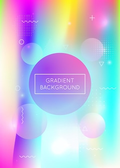Liquid shapes background with dynamic fluid. holographic bauhaus gradient with memphis elements. graphic template for placard, presentation, banner, brochure. retro liquid shapes background.