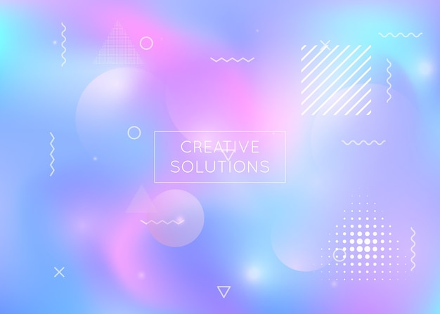 Liquid shapes background with dynamic fluid. holographic  gradient with memphis elements