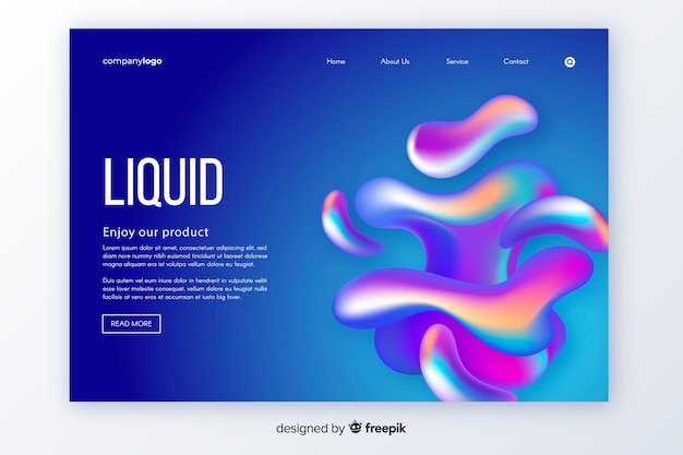 Liquid shapes landing page template