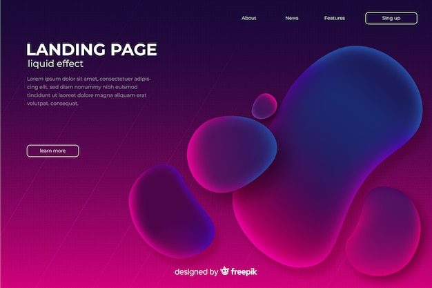 Liquid shapes landing page