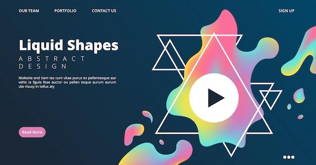 Веб-страница жидких форм. цветная целевая страница в динамическом стиле. векторная заставка для видео, конференции, стриминга