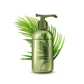Liquid soap bottle with pump and branch vector. natural organic lotion blank dispenser bottle and tropical tree green leaves. conditioner or gel container template realistic 3d illustration