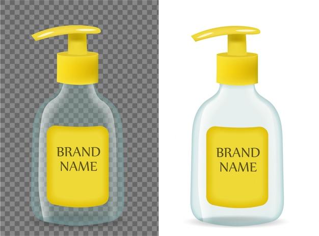背景が透明な液体石鹸のリアルなパッケージ。ブランドテンプレートの3 dボトルモックアップ。 。