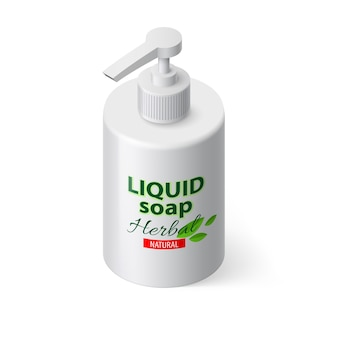 Liquid soap in white bottle in isometric style