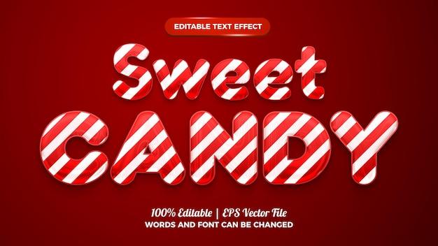 빨간색 배경에 액체 달콤한 사탕 3d 편집 가능한 텍스트 효과