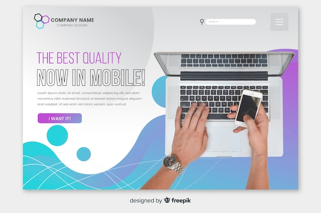 Liquid technology landing page with photo
