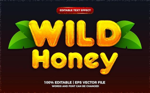 액체 야생 꿀 노란색 3d 편집 가능한 텍스트 효과