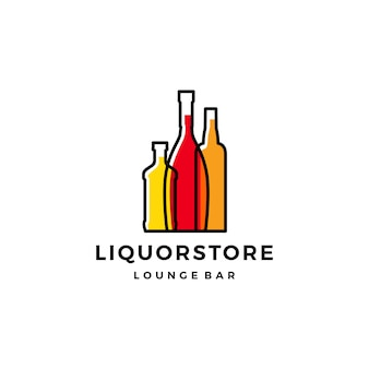 Liquor store shop cafe beer wine logo