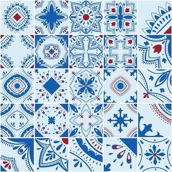 리스본 기하학적 타일 벡터 패턴, 포르투갈어 또는 스페인 복고풍 타일 모자이크, 지중해식 매끄러운 파란색 및 빨간색 디자인.