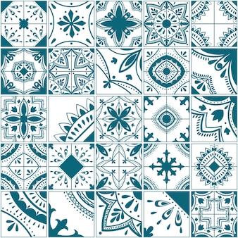 리스본 기하학적 타일 벡터 패턴, 포르투갈어 또는 스페인 복고풍 타일 모자이크, 지중해식 매끄러운 파란색 디자인.