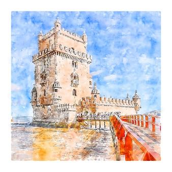 리스본 포르투갈 수채화 스케치 손으로 그린 그림