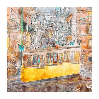 Лиссабон португалия акварельный эскиз рисованной иллюстрации Premium векторы