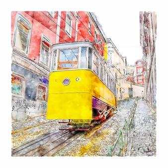 Лиссабон португалия акварельный эскиз рисованной иллюстрации