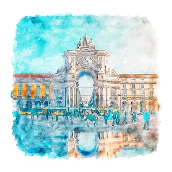 Lisbon portugal watercolor sketch hand drawn illustration