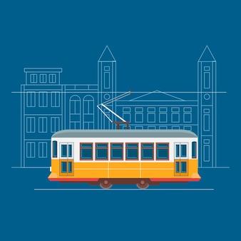 Лиссабонский трамвай на уличной иллюстрации Premium векторы