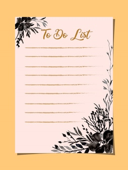 To do list card with black floral watercolor
