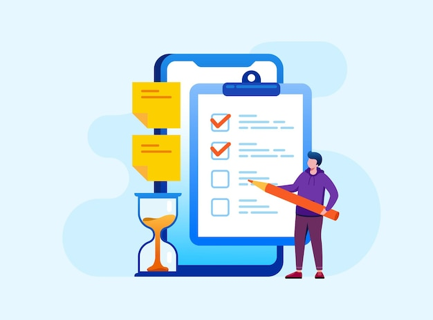 To do list and checkmark flat vector illustration banner and landing page