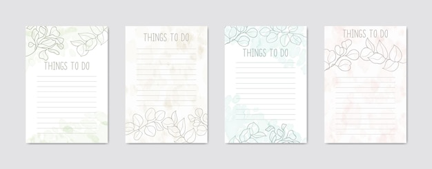 To do list collection with abstract colorful floral background