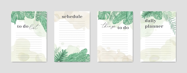To do list collection with watercolor floral style
