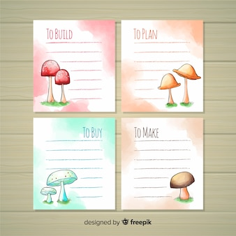 To do list collection with watercolor mushrooms