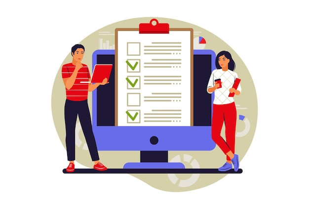 To do list concept. people is standing near large to do list. vector illustration. flat.