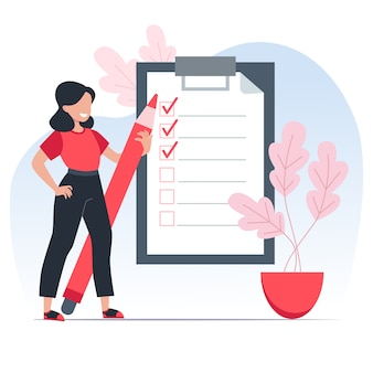 To-do list, girl holds a red pencil and notes completed tasks on time. time management concept.   illustration