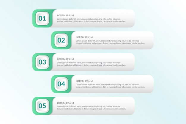 List infographic design with 5 lists info
