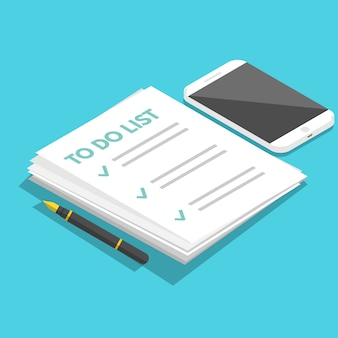 To do list isometric, planning concept. tasks are completed. vector flat illustration.