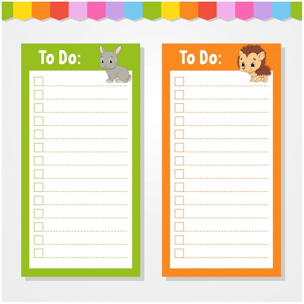 To do list for kids, empty template