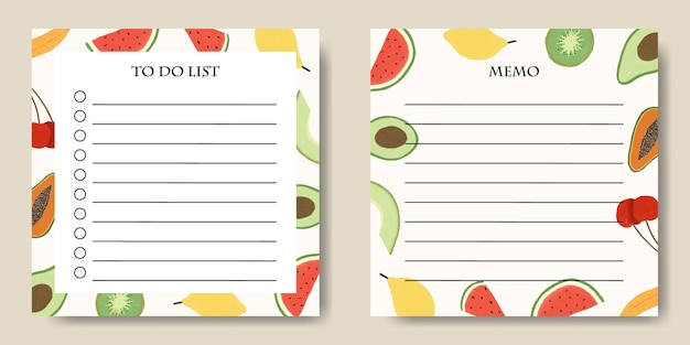 To do list memo template with fruits illustration background