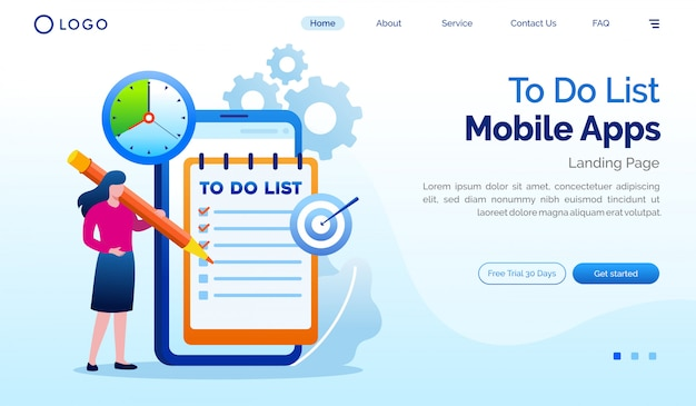 To do list mobile apps landing page website   flat template