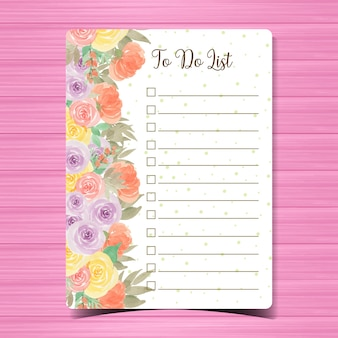 To do list page with colorful flower background