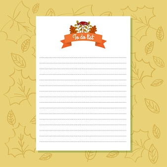 To do list paper template autumn background
