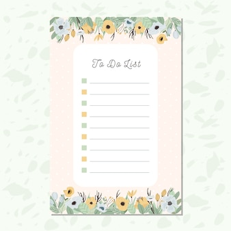 To do list paper with yellow blue florals