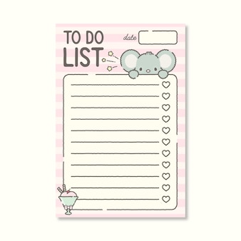 To do list planner template with cute mouse premium vector