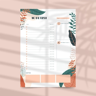 To do list planner template with leaves