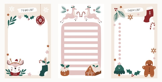 To do list set with christmas elements for agenda
