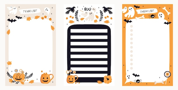 To do list set with halloween elements.