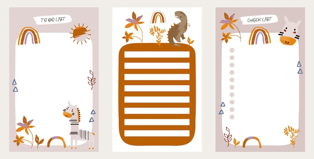 To do list set with kids spring elements for agenda