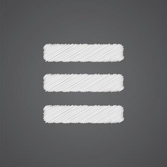 어두운 배경에 고립 된 목록 스케치 로고 낙서 아이콘